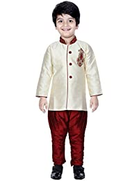 Divinee Cream Color Art Silk Sherwani Set for Boys with Embroidery Work