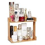 FEI Rack Cosmetic Organizer, 2-Tier-Multifunktions-Bambus bilden Hautpflege-Aufbewahrungs-Organisator-Rack-Halter für Küche Countertop-Badezimmer, Schlafzimmer (größe : 29.5 * 13 * 24cm)
