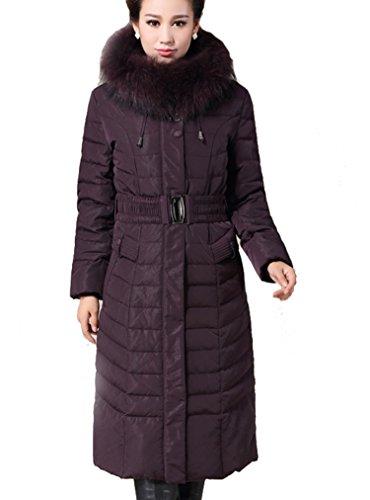 BININBOX® Damen Daunenmantel Lang Leicht Luxuriös mit Fellkragen und Gürtel Warm Jacke Steppmantel Wintermantel Pelz (3XL-Brust 128cm Schulter49cm-Ärmel 63cm, Schwarz)
