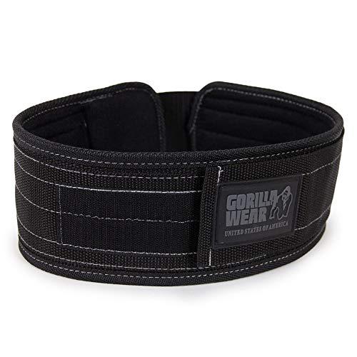 Gorilla Wear 4 Inch Nylon Belt - schwarz - Bodybuilding und Fitness Gürtel für Damen und Herren, M/L