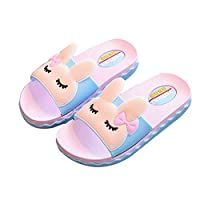 IUU Mom-Baby Slippers Cute Girl Rabbit Sandals Bath Slippers Non-Slip Slippers House Slippers Beach Flip-Flops (EU 36/23cm Grown ups, Blue)
