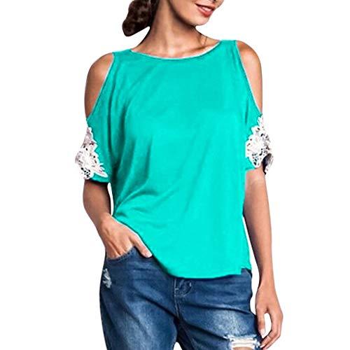 TWIFER Sommer Damen T Shirt Oansatz Übergröße Trägerlose Spitze Kurzarm Bluse Easy Top Shirts