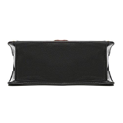 Mode-Damen-Stickerei-Beutel-Schulter-Beutel-horizontale Beutel-Niet-Beutel-quadratischer Beutel,Black White