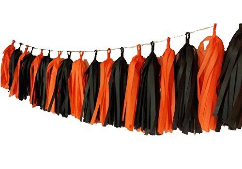 SUNBEAUTY Girlande Tassels Halloween Dekoration (Orange, Schwarz)