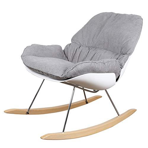 L.BAN Rocker Relax Schaukelstuhl Schreibtischstuhl Hellgrau Lounge-Sessel Entspannungsstuhl mit Verstellbarer Rückenlehne mit weichem Kissen