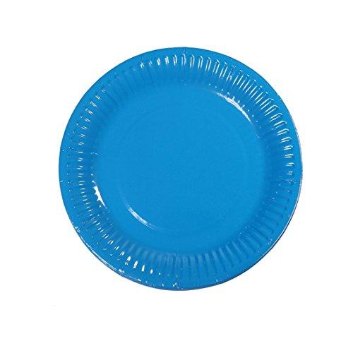 Meowoo Pappteller Partyteller Einwegteller ideal für Feste und Feiern wie Geburtstag oder Grillabend, aus Frischfaserkarton 18cm (100 Pack) (Blau)