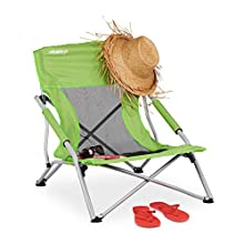 Relaxdays, Green, Folding Fishing Seat with Carrier Bag, Camping Chair, Garden and Beach, 70x62x63cm