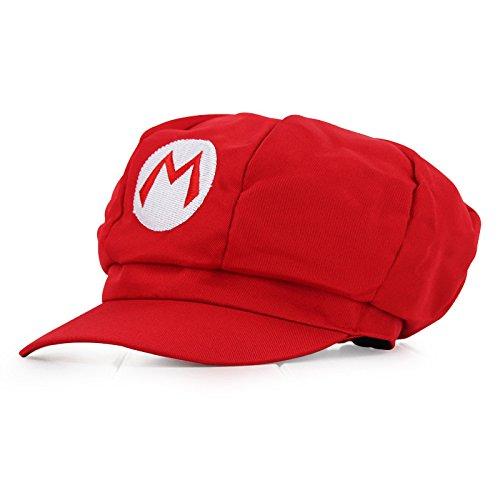 Herren Kostüm Hüte (Super Mario Mütze ROT für Erwachsene und Kinder Karneval Fasching Verkleidung Kostüm Mützen Hut Cap Herren Damen)