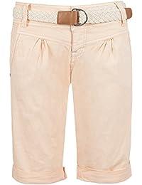 Fresh Made Damen Bermuda-Shorts in Pastellfarben mit Flecht-Gürtel   Elegante  kurze Hose e7e9e8458a
