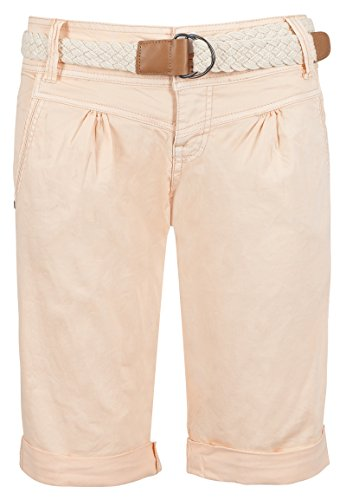 Fresh Made Damen Bermuda-Shorts in Pastellfarben mit Flecht-Gürtel | Elegante kurze Hose im Chino-Style light-orange L