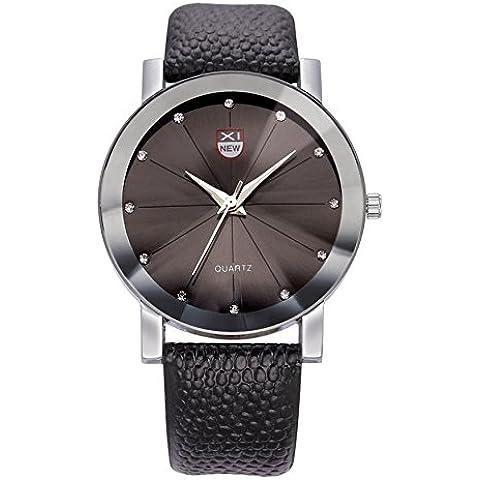 Orologio xinew cinturino in pelle rotonda orologio sportivo uomo, Nero, 1