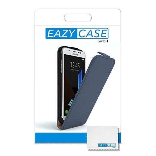 Samsung Galaxy J5 (2016) Hülle - EAZY CASE Premium Flip Case Handyhülle - Schutzhülle aus Leder zum Aufklappen in Anthrazit Dunkelblau