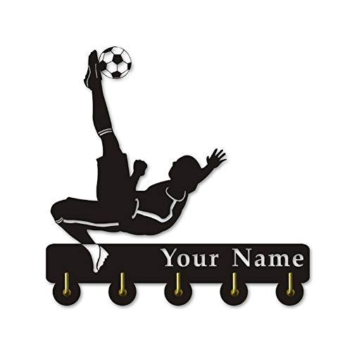 ANMY Personalice su Nombre para los Temas de fútbol Percha de Madera Ropa Sombrero Clave Gancho/Perchero/Pared Gancho Decoración Cocina Baño Gancho de Toalla, Negro