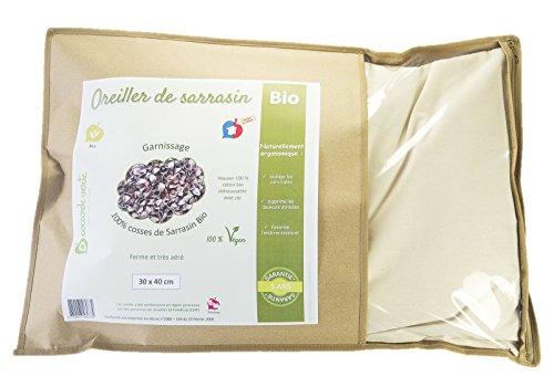 La Cocarde Verte - Organisches Buchweizen-Kissen - Bio-Baumwollkissen und Bio-Gemüsekugeln - Feste zervikale Unterstützung - Vegan - 3