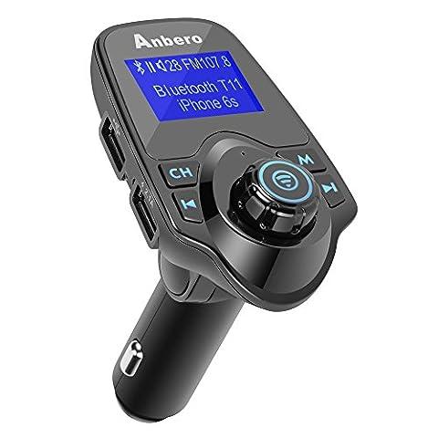 Anbero Bluetooth Kfz FM Transmitter Freisprecheinrichtung Auto Aux Adapter mit USB-Ladegerät, 1,44 Zoll Digital Display, Lesen Micro SD-Karte und