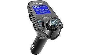Anbero Transmisor de Radio FM, Adaptador Bluetooth para el Coche, Kit de Manos Libres para el Coche con Conector de Audio de 3,5mm, Lectura de Tarjeta Micro SD y lápices USB, Color Negro