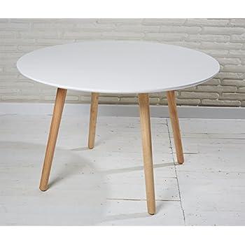 Tisch design rund  Esszimmertisch Esstisch rund 110 cm weiß natur Retro Design runder ...
