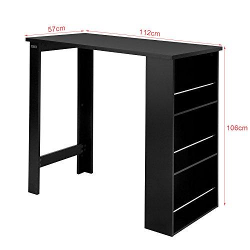 SoBuy® fwt17-sch tavolo alta di bar tavolino cucina con rangements- Nero