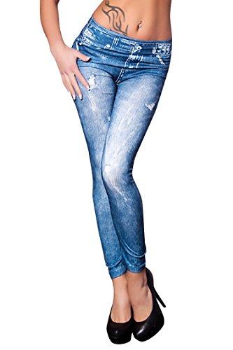 Molly Donna Faux Jeans Leggings Morbido Collant Pantaloni Formato Libero Blu