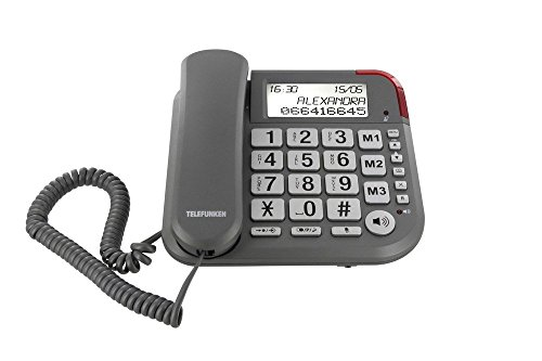 Telefunken TF 501 Cosi - Teléfono fijo, color gris (Reacondicionado Certificado)