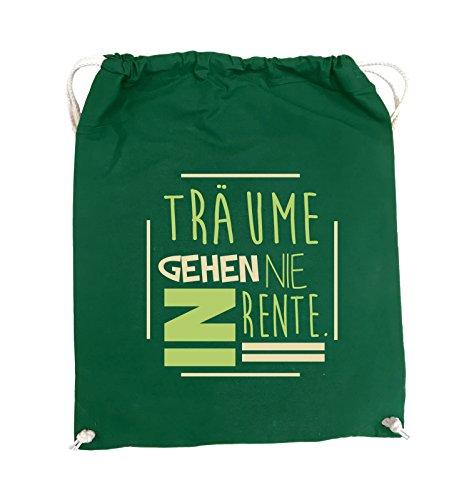 Comedy Bags - Träume gehen nie in Rente. - Turnbeutel - 37x46cm - Farbe: Schwarz / Weiss-Neongrün DunkelGrün / Hellblau-Royalblau