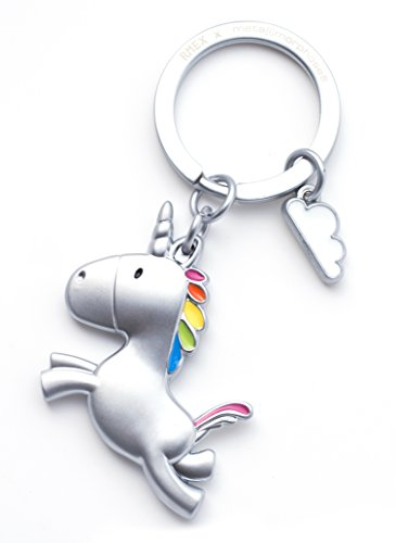 RMEX Fliegende Einhorn Schlüsselhalter mit Cloud Rainbow (Mattes)
