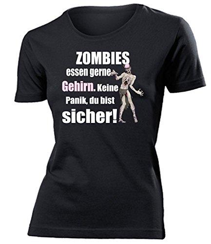 Zombies Essen gerne Gehirn Keine Panik du bist sicher 5127 Halloween Kostüm Damen Fun-T-Shirts Schwarz XL