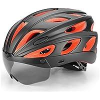 Flowerrs Casco Scooter Casco de Bicicleta Ajustable para Adultos con Gafas magnéticas Desmontables Casco de Montar de una Pieza (Negro + Rojo) Skate Helmet