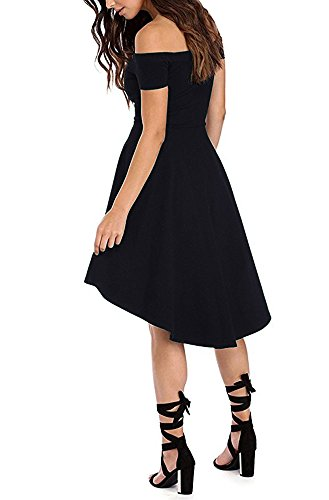 ZJCTUO Damen Kleid Abendkleid Schulterfreies Cocktailkleid Jerseykleid Skaterkleid Knielang Elegant Festlich Asymmetrisches Partykleid- Gr. 42 (XL), Schwarz - 4