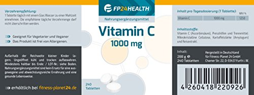 FP24 Health Vitamin C 1000mg – 240 Tabletten – Hochdosiert – 8 Monatsvorrat – Ascorbinsäure – Top Qualität – Made in Germany