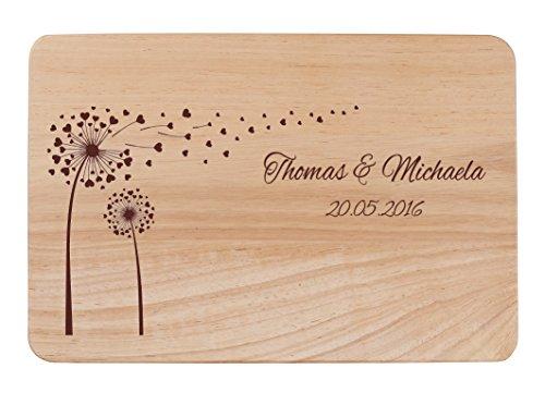 FORYOU24 Holz Schneidebrett Küchenbrett Pusteblume Kochbrett mit Gravur Motiv 20 x 30 (Schneidebretter Gravieren)