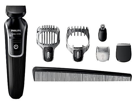 Philips Series 3000 6-in-1 Waterproof Mens Grooming Kit (Beard/Stubble Trimmer/Hair Clipper)