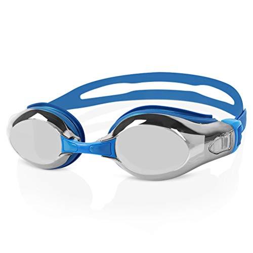 GYWY Schwimmbrille Erwachsene, Verstellbare Klarem Objektiv Schwimmbrille Ohne Leakage Wasserdichter Antibeschlag UV Schutz Triathlon Schwimmbrille für Männer Frauen,Blue