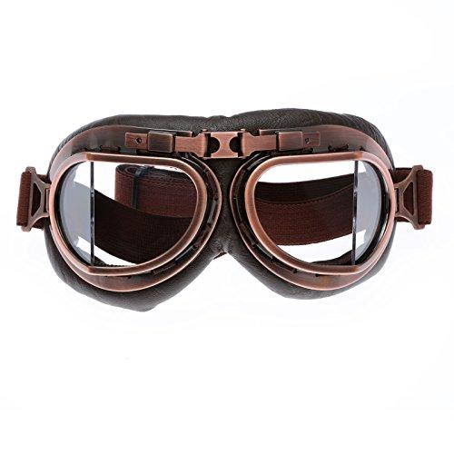 Helm Steampunk Vintage Sonnenbrille Schutzbrille für Outdoor Sport Motocross - Clear Glas