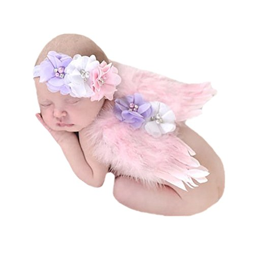 Fletion Baby Strass Perlen Elastisches Stirnband Angel Wings -