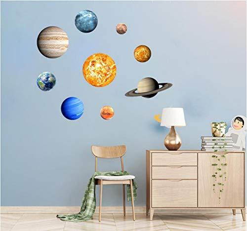 hfwh Wandaufkleber Mode 9pcs wasserdichte Planeten Sterne Kinder Glühen In Der Dunklen Dekorativen Aufkleber Mit Hoher Qualität 30x30cm (Der In Glühen Dunklen)