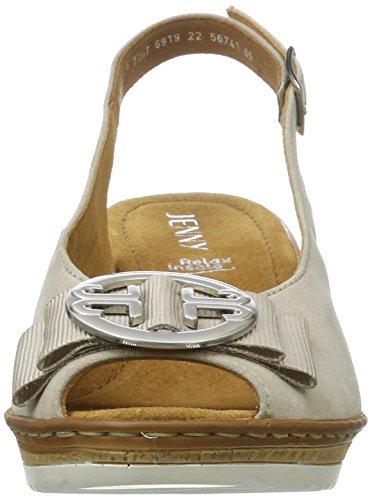 JennyRimini - Scarpe con cinturino alla caviglia Donna Beige (LINO)