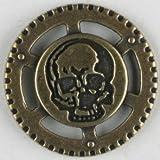 Dill® Vollmetallknopf Steampunk Totenkopf, 23 mm, altmessing