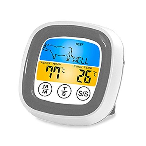 sweetcandya Digitales Küchenthermometer, Fleischthermometer, zum Kochen, Frittieren, LCD-Display, Touchscreen, Thermometer für Fleisch, Grill, Fritteuse -
