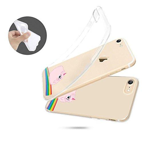 finoo | iPhone 6 / 6S Weiche flexible Silikon-Handy-Hülle | Transparente TPU Cover Schale mit Motiv | Tasche Case Etui mit Ultra Slim Rundum-schutz | Einhorn klein 1 Einhorn flauschig
