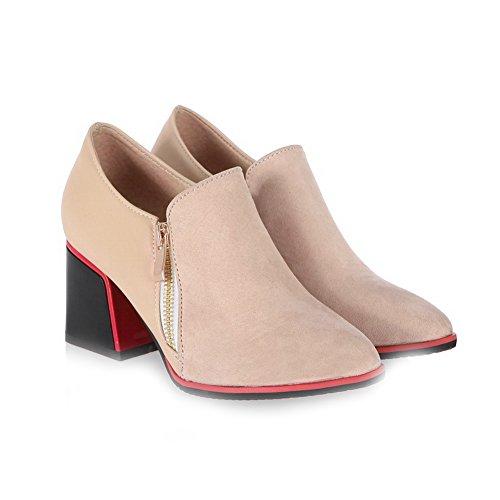 VogueZone009 Damen Spitz Zehe Pu Leder Gemischte Farbe Mittler Absatz Pumps Schuhe Aprikosen Farbe