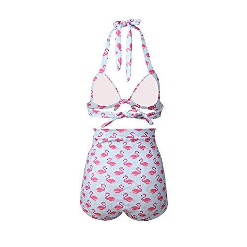 Gigileer 1950's Damen Frauen Badeanzug Bademode Rockabilly Bikini Set - Hohe Taillen -Neckholder - bauchweg-Flamingo M -