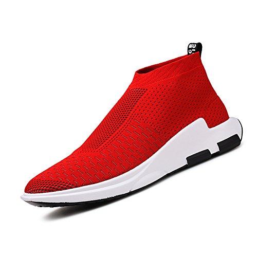 Madaleno Uomo Scarpe da Corsa Ginnastica Running Respirabile Corsa all'aperto Sneakers Sportive Outdoor Tennis Basse (42 EU, Rosso-1)