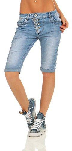Sexy Bermuda-Denim. Sexy Jeans-Bermuda im Five-Pocket-Stil mit tollen Design-Extras. Excellente Acid-Washung und leichte Wrinkle-Effekte prägen das Denim-Wunder. Grosse Double-layer-Eingrifftaschen, sowie schräg verlaufende Knopfleiste vorn mit Zippe...