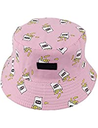31d09965a9a MSYOU Cotton Bucket Hat French Fries Pattern Summer Reversible Sun Hat  Outdoor Hats for Women Girls