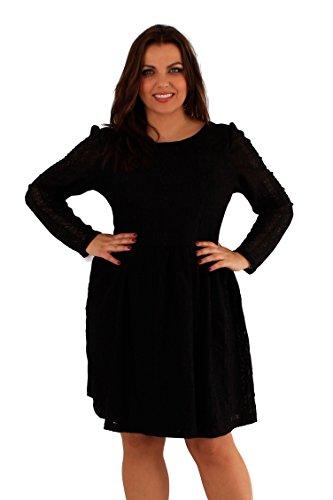 New Damen Plus Größe Langarm Spitzen Kurzkleid 46-52 Black