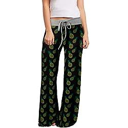 Loveternal Mujeres Pijama Pantalón Piña Impreso Cintura Elástica Harem Pantalones Boho Yoga Pants Negro S