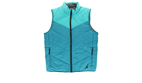 ead5a4d074aa41 Jordan Men s Nike Ele Padded Reversible Puffer Vest-Teal Gray-Large   Amazon.in  Clothing   Accessories
