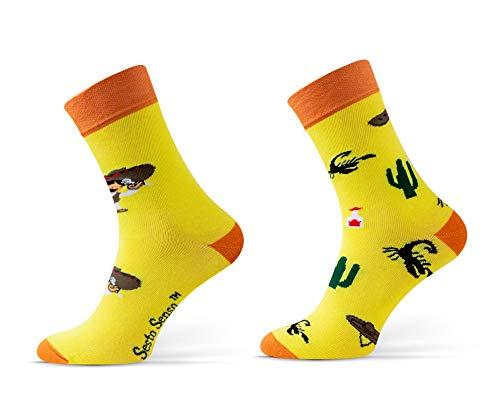 Sesto Senso® Lustige Socken Baumwolle 1 oder 3 Paar Socken Wadensocken für Damen und Herren Unisex Seltsame Ungerade Fun Socken (39-42, Mexiko)