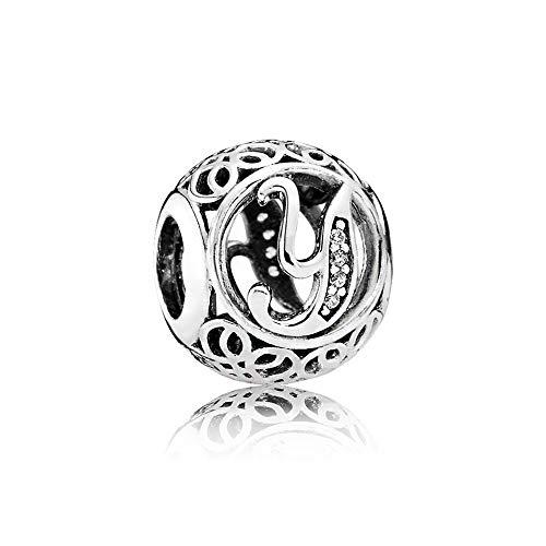 ed4b1f54aa Letter Alphabet Charm 925 Sterling Silver Charms Fits Pandora, European  Bracelets Compatible